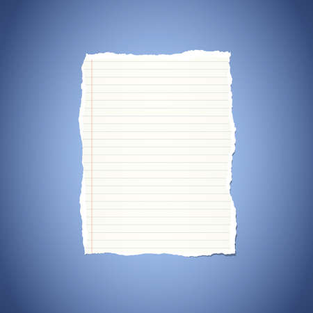 notebook paper background: Ripped white ruled notebook paper stuck on blue vignette background. Illustration