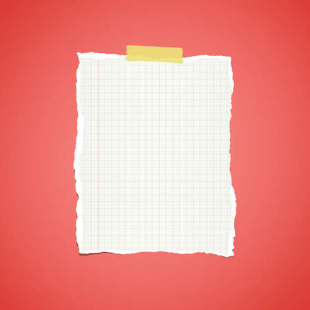 notebook paper background: Ripped white ruled notebook paper stuck on red vignette background.