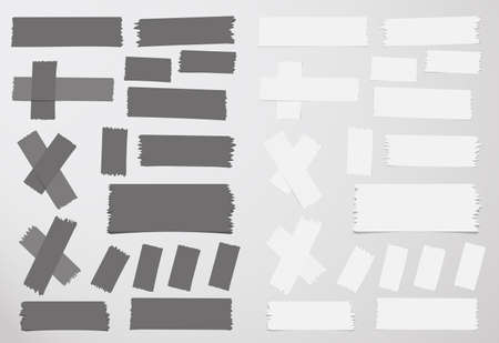 strip design: Different size sticky, adhesive masking tape are on grey background. Illustration