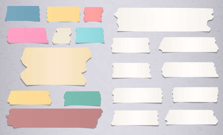Colorful and white different size sticky, adhesive masking tape are on grey background. Stock Illustratie