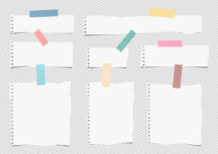 Pieces of white torn note, notebook paper sheets with colorful adhesive, sticky tape stuck on grey background. Illustration
