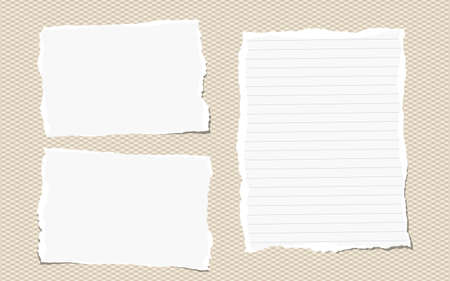 Pieces of white torn note, notebook paper sheets stuck on brown background.