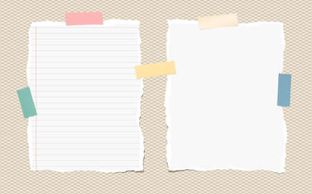 notepads: Pieces of white torn note, notebook paper sheets with colorful adhesive, sticky tape stuck on brown background.