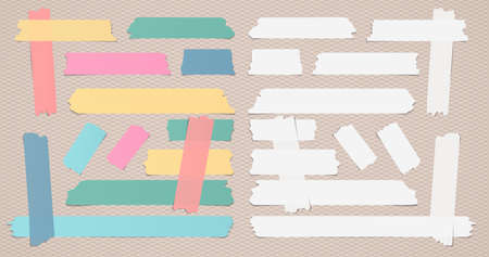 strip design: Colorful and white different size sticky, adhesive masking tape are on brown background.