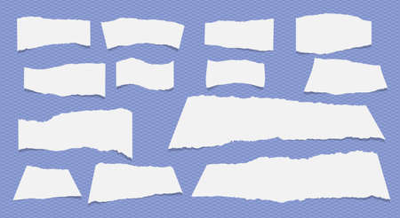 note notebook: White ripped note, notebook paper sheets stuck on blue pattern created of diagonal stripes. Illustration