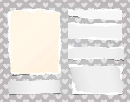 note notebook: Ripped white notebook, note paper stuck on pattern created of heart shapes.