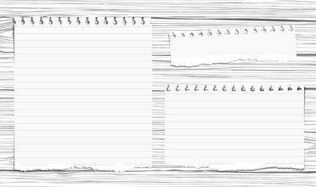 notepads: Ripped white note, copybook, notebook paper stuck on wooden wall or table top.