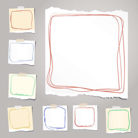 note notebook: Ripped white and brown notebook, note, copybook paper sheets with colorful doodle frames, stuck on background.