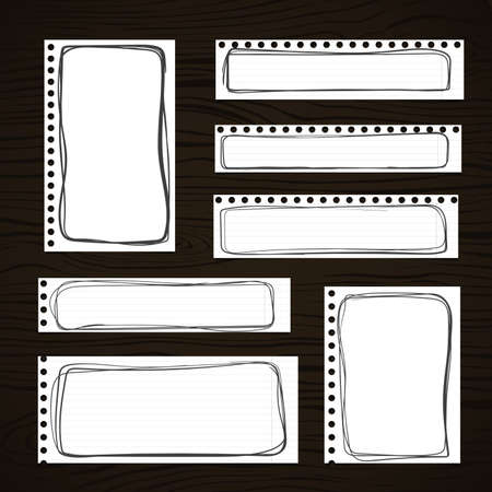 note board: Ripped white notebook, note, copybook paper sheets with black doodle frames, stuck on dark wooden board.