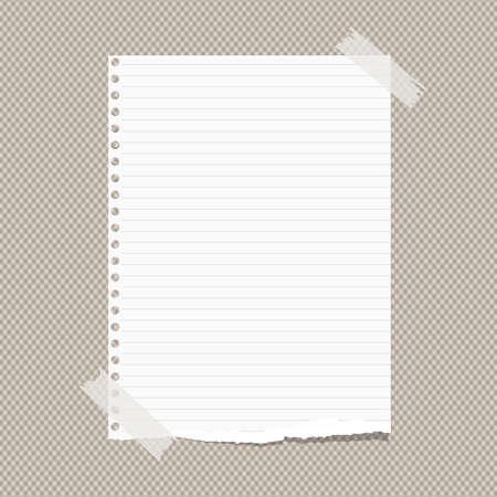Weiß regiert zerrissene beachten, Notizbuch, Schreibheft Blatt Papier mit Klebeband auf braunem squared Muster stecken.