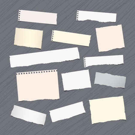 ripped: Ripped note, notebook, copybook paper sheets stuck on lined pattern.