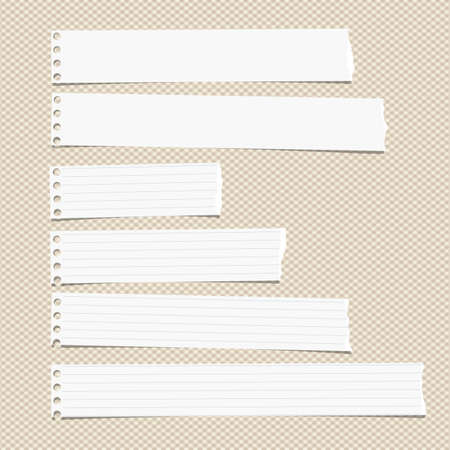 sheet: White ruled horizontal torn note, notebook, copybook paper sheets stuck on brown squared pattern.