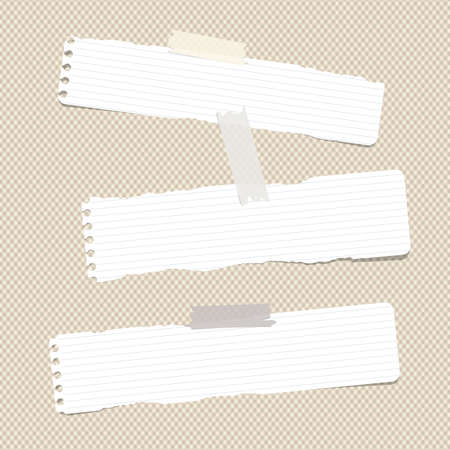 note notebook: White ruled torn note, notebook, copybook paper sheets stuck with sticky tape on brown squared pattern.