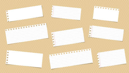 note notebook: White ruled note, notebook, copybook paper pieces stuck on squared pattern Illustration