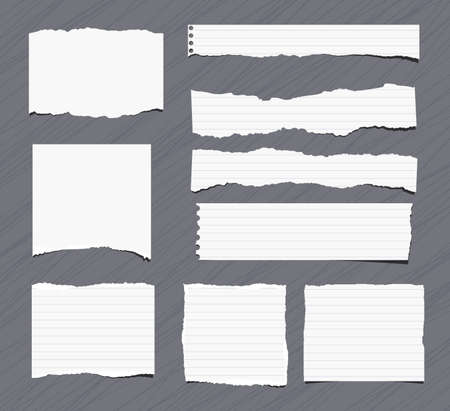 note notebook: Pieces of white torn note, notebook, copy book paper sheets stuck on grey background