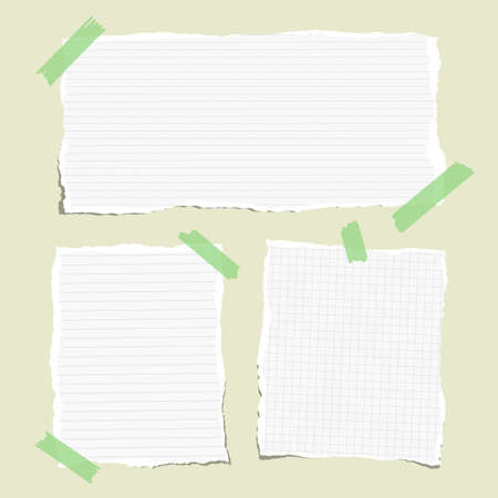 note notebook: White ruled torn note, notebook, copybook paper sheets stuck with sticky tape
