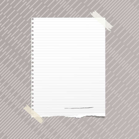 note notebook: Ripped white ruled note, notebook, copybook paper sheet stuck on gray lined pattern