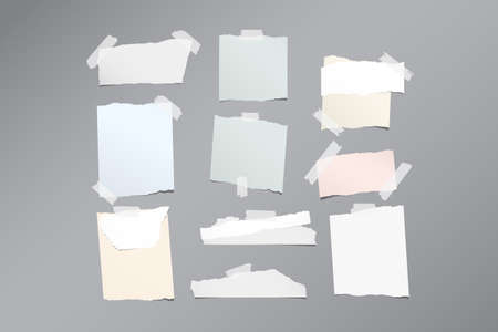 note notebook: Pieces of different size ripped note, notebook, copybook paper sheets stuck with sticky tape on gray pattern Illustration