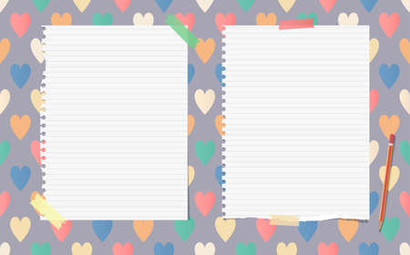 note notebook: White ripped ruled notebook, copybook, note paper with pencil stuck on pattern created of colorful heart shapes Illustration