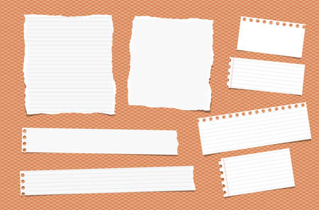 note notebook: Pieces of ripped different size white note, notebook, copybook paper sheets, strips stuck on squared orange background