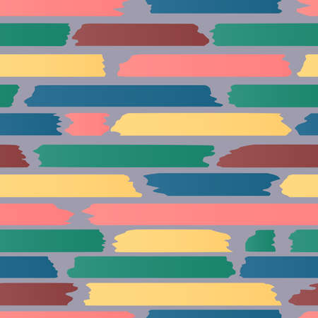 Seamless strips pattern. Horizontal lines with torn and stuck paper effect on gray background. Vector illustration