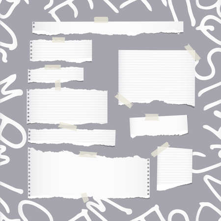 note notebook: Ripped white ruled note, notebook, copybook paper sheets, strips on pattern created of alphabet letters Illustration