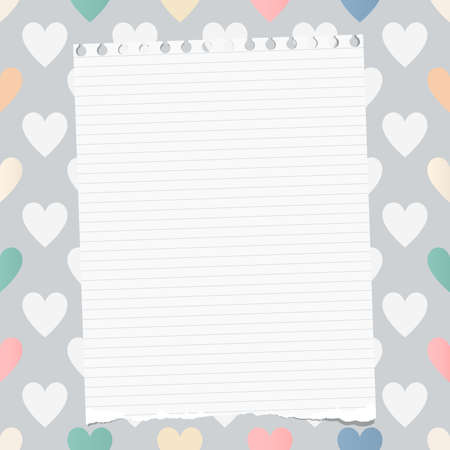 note notebook: White ripped ruled notebook, copybook, note paper stuck on pattern created of heart shapes Illustration