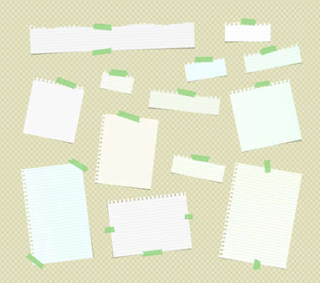 note notebook: Ripped white ruled note, notebook, copybook paper sheets, strips stuck with colorful sticky tape on brown squared pattern