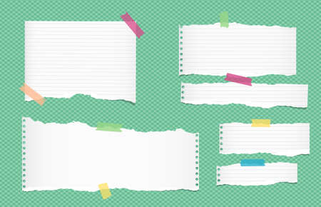 note notebook: Ripped white ruled note, notebook, copybook paper sheets, strips stuck with colorful sticky tape on green squared pattern Illustration
