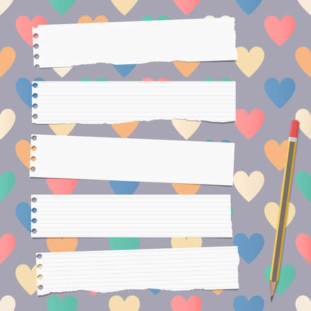 note notebook: White ripped ruled notebook, copybook, note paper strips with pencil stuck on pattern created of colorful heart shapes