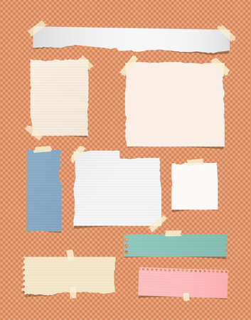 Ripped ruled different size white and colorful note, notebook, copybook paper sheets, strips stuck on orange squared background