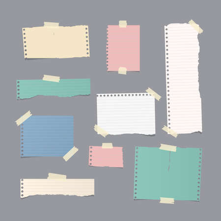 notepads: Pieces of different size ruled and blank colorful note, notebook, copybook paper sheets,strips stuck with sticky tape on gray background