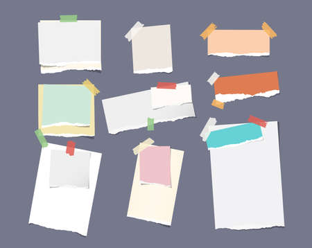 note notebook: Pieces of different size ruled colorful bright note, notebook, copybook paper sheets stuck with sticky tape on dark gray background