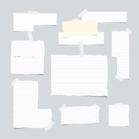 ruled paper: Ripped ruled note, notebook, copybook paper sheet, strips stuck with white sticky tape on light gray background