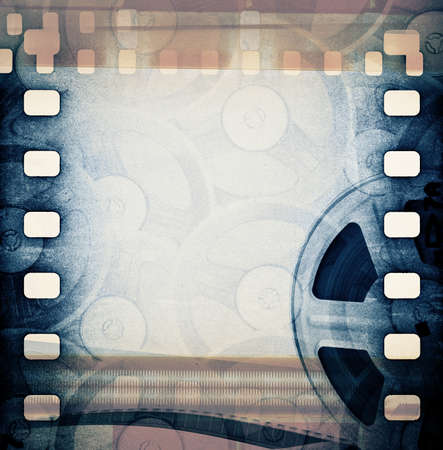 old paper texture: Old motion picture film reel with tape
