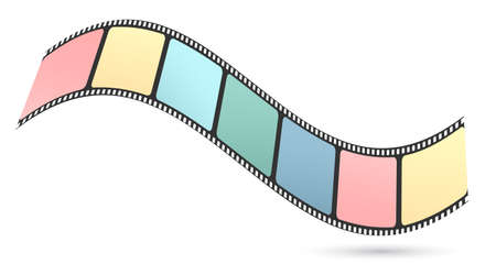Colorful waved film or camera strip on white background with shadow.