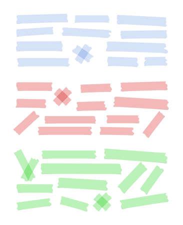 Satz von unterschiedlicher Größe, bunten klebrigen Papier, Klebstoff, Klebeband sind auf weißem Hintergrund