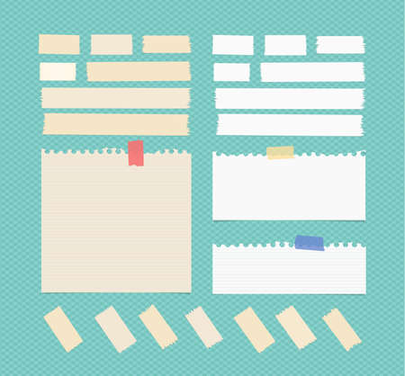 note paper background: Sticky, adhesive masking tape, ruled ripped note paper stuck on blue squared background