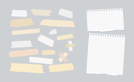 Klebrig, Abdeckklebebandes, riss Notenpapier auf grauem Hintergrund geklebt