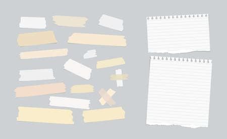 note paper background: Sticky, adhesive masking tape, ripped note paper stuck on gray background Illustration