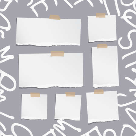 note notebook: Ripped white note, notebook, copybook paper sheets on pattern created of alphabet letters