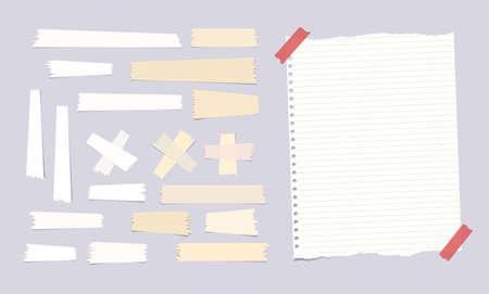 note notebook: Sticky, adhesive masking tape, ripped note, notebook, copybook paper sheet on gray background Illustration