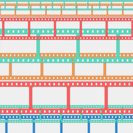 horizontal position: Set of colorful film or camera strips in horizontal position.