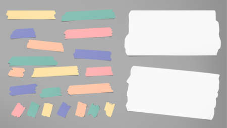 note notebook: Ripped white notebook, copybook, note paper strips, colorful sticky, adhesive masking tape stuck on gray background Illustration