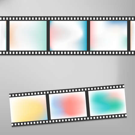 vintage wave: Colorful vintage film or camera strip on gray background with shadow