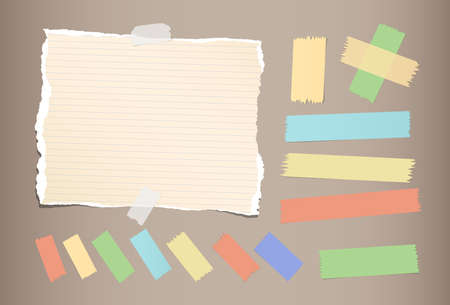 Ripped brown notebook, copybook, note paper, colorful sticky, adhesive masking tape strips stuck on brown color