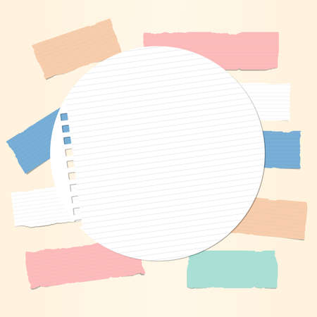 note notebook: Colorful ruled note, notebook, copybook paper strips with round paper sheet in centre