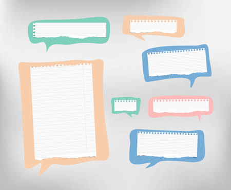 note notebook: Pieces of ripped ruled white note, copybook, notebook paper are on colorful speech bubbles