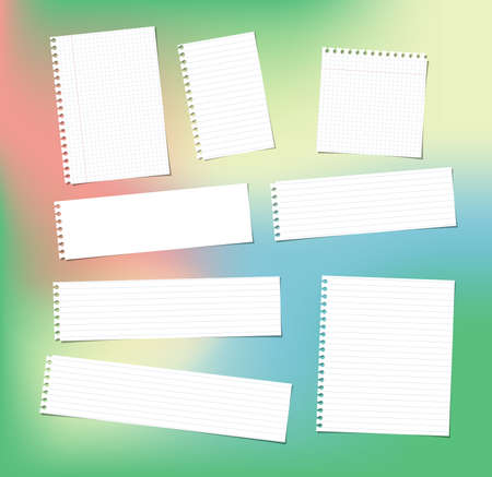 White note, notebook, copybook paper strips and sheets stuck on colorful bright gradiant background