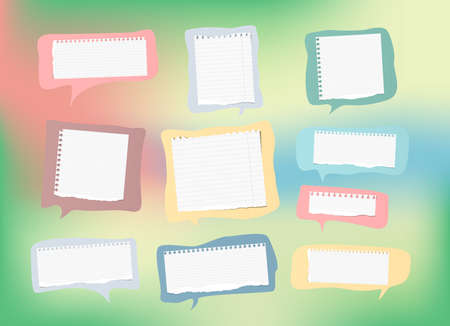 note notebook: Pieces of ripped ruled white note, copybook, notebook paper strips and speech bubbles are on colorful gradient background